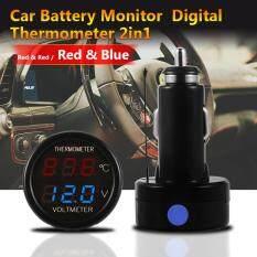 ราคา 2 In 1 Car Auto 12V Dual Display Red Blue Led Digital Thermometer Voltmeter ใหม่