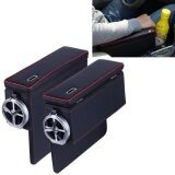 ขาย 2 Pcs Fd C108 Car Auto Wrapping Leather Seat Side Carrying Organizer Storage Box With Metal Drink Holder And Coin Hole Black And Red Intl Sunsky ถูก
