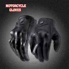 โปรโมชั่น 2016 High Quality Men Motorcycle Gloves Outdoor Sports Full Finger Short Leather Gloves With Hole Medium Black จีน