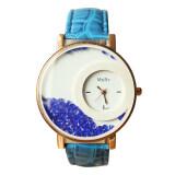 ขาย 2016 Hot Women S Quicksand Leather Band Watches Analog Quartz Wrist Watch Blue เป็นต้นฉบับ