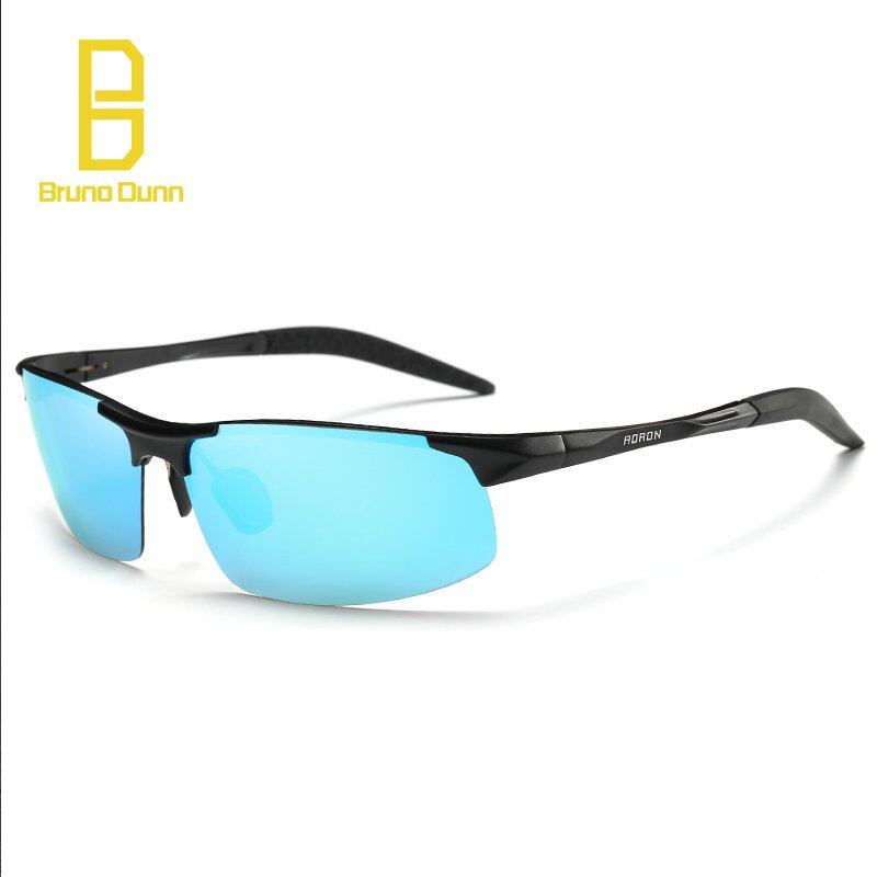 BRUNO DUNN 2018 new Aluminum Magnesium Alloy Polarized Sunglasses For Men Driving Sun Glasses 8177 (black frame blue mirror lense)