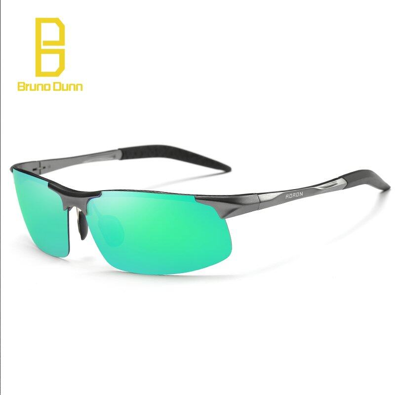 BRUNO DUNN 2018 new Aluminum Magnesium Alloy Polarized Sunglasses For Men Driving Sun Glasses 8177  frame blue mirror lense)