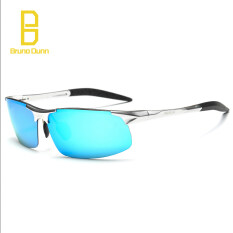 ทบทวน 2017 ใหม่อลูมิเนียมแม็กนีเซียมอัลลอยแว่นตากันแดด Polarized สำหรับผู้ชายขับรถแว่นตากันแดด 8177 Silver กรอบ Blue Mirror เลนส์