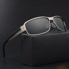 ซื้อ 2017 New Arrival แว่นตากันแดดแบบ Polarized Men ยี่ห้อ Designer ชายแว่นตากันแดดดวงอาทิตย์แว่นตา Gafas Oculos De Sol Masculino Polarizado 8485 สีเงินเลนส์สีเทา ใน จีน