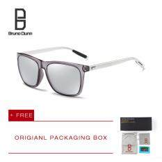 ราคา Bruno Dunn Brand หนุ่มแว่นกันแดดโพลาไรซ์ ผู้หญิงผู้ชาย แว่นตา 387 Grey Frame Silver Lens เป็นต้นฉบับ Bruno Dunn
