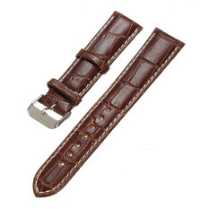 ทบทวน ที่สุด 22Mm Genuine Leather Watch Band Strap Women Men Stainless Steel Buckle Intl