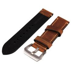 ส่วนลด 24Mm Width Brown Genuine Leather Wristwatch Band Men Watch Strap Watchband
