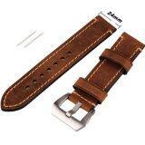 ทบทวน ที่สุด 24Mm Width Brown Genuine Leather Wristwatch Band Men Watch Strap Watchband Intl
