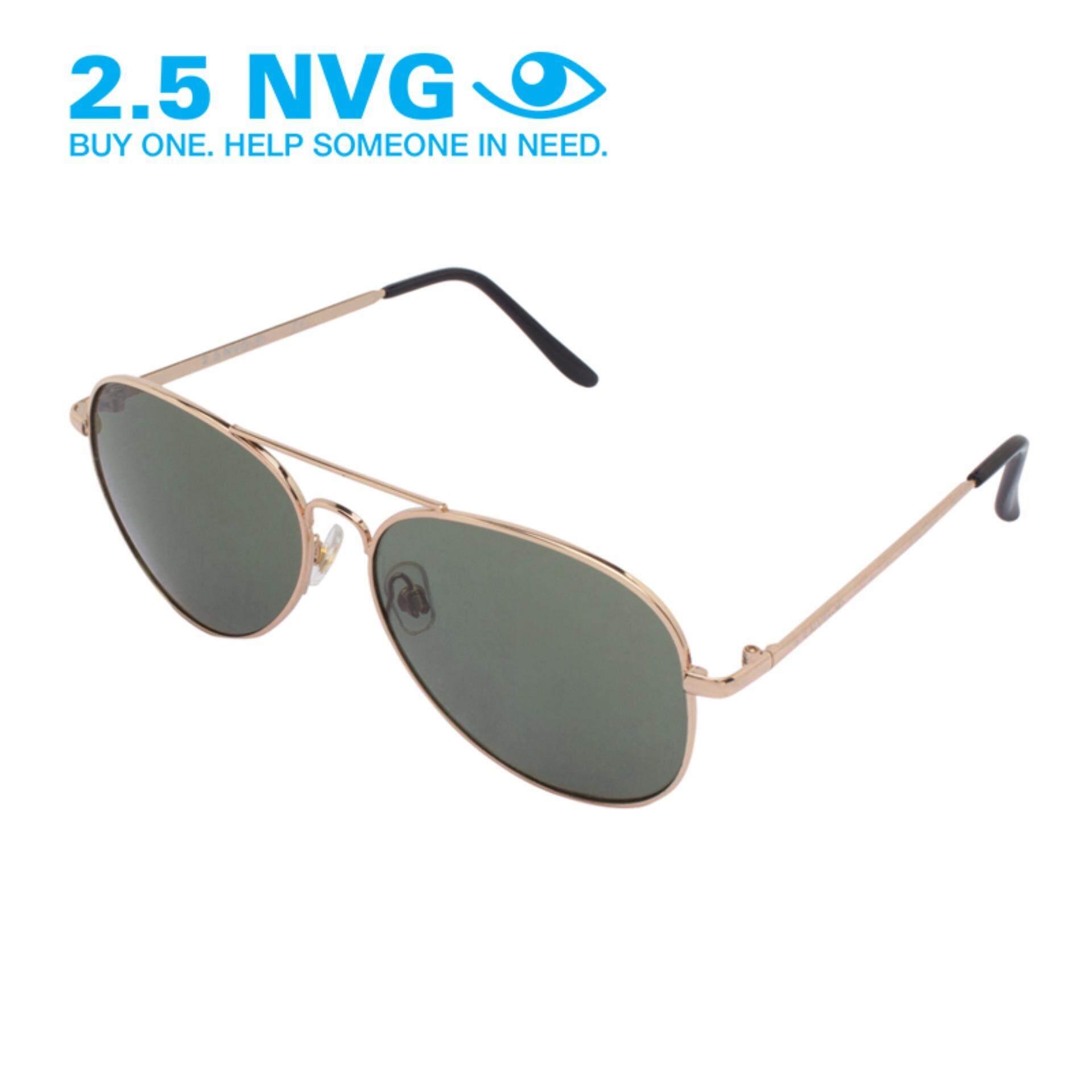 ความคิดเห็น 2 5 Nvg แว่นกันแดดสำหรับผู้ชาย กรอบทรงนักบินสีทอง เลนส์ป้องกันรังสี Uv400 สีเทา Scm 011