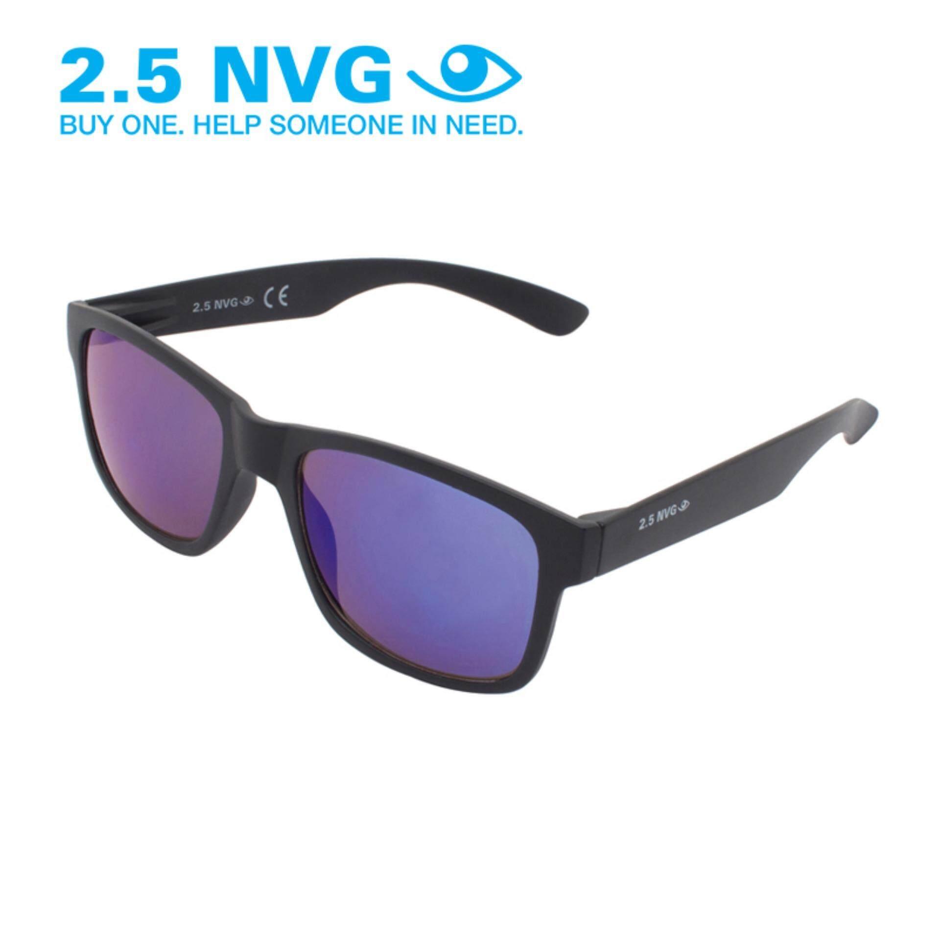 ขาย 2 5 Nvg แว่นกันแดดสำหรับผู้ชาย กรอบทรงสี่เหลี่ยมผืนผ้าสีดำ เลนส์ป้องกันรังสี Uv400 สีม่วง Sun 104 0202 เป็นต้นฉบับ