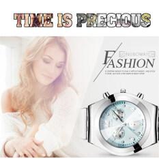 โปรโมชั่น 2016 Best Quality Longbo Women S Fashion Decoration Three Eyes Diamond Encrusted Wristwatch Green ถูก