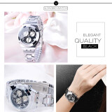 ส่วนลด 2016 Best Quality Longbo Women S Fashion Decoration Three Eyes Diamond Encrusted Wristwatch Black Longbo