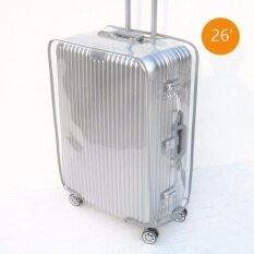ถุงผ้าคลุมกระเป๋าเดินทางโปร่งใสรุ่นใหม่ 26(สีเทา)  64สูง X 46.5กว้าง X 27.5 หนาcm.