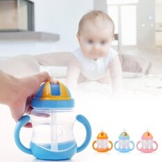 ความคิดเห็น 280Ml Portable Baby Transition Training Drinking Bottle With Handles Blue Intl