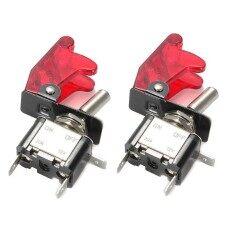 ราคา 2Pc Red Led Spst Toggle Rocker Switch Control On Off 12V 20A With Safety Cover Intl Unbranded Generic