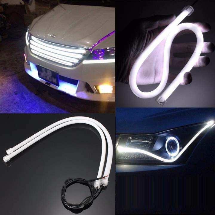 แนะนำ 2pcs 45CM White Soft Guide Car Motorcycle LED Strip Light Lamp DRL Light 12v DC