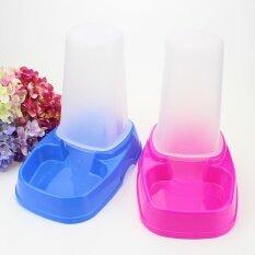 2 ชิ้นสัตว์เลี้ยงอัตโนมัติแมวป้อนพลาสติกน้ำพุอาหาร Dispenser (สีน้ำเงินเข้มและสีชมพู) - นานาชาติ By Buybuyshop.