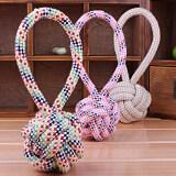 ขาย ซื้อ 2Pcs Classy Modish Pet Cotton Woven Rope Ball Dogs Teeth Cleaning Chew Toys Knot Toy Intl