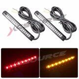 ขาย 2Pcs Universal 17 Led 2835 Smd Brake Turn Signal Strip Red Amber For Car Vehicle Motorcycle Bike Suv ออนไลน์ กรุงเทพมหานคร