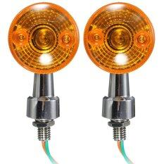 ซื้อ 2X Chrome Universal Motorcycle Bike Turn Signal Light Indicatior Lamp Amber Bulb ถูก ใน จีน
