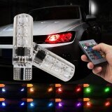 ซื้อ 2X T10 5050 Led Rgb Multi Color Interior Wedge Side Light Strobe Remote Control Intl ใหม่ล่าสุด