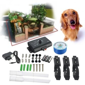 3 Dog In-Ground Outdoor Shock Collar Dog Training Pet Electric Fence Underground EU Plug - intl