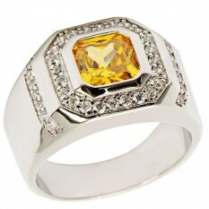 3 5Ct New Fashion Jewelry Topaz Zircon 18Kt Gold Plated Wedding Ring Gift Size 7 To 15 Gr2488 Intl ถูก