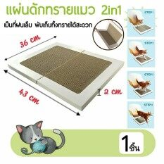 แผ่นดักทรายแมว 2in1 พร้อมเป็น ที่ฝนเล็บแมว แบบพับได้ น้ำหนักเบา พกพาสะดวก  ขนาด 36*43*2 cm