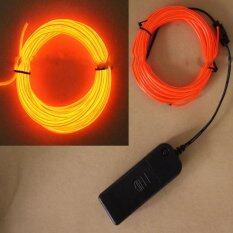 ซื้อ 3M El Wire Rope Tube Neon Light Glow Controller Car Party Decor Orange Intl ถูก ใน จีน