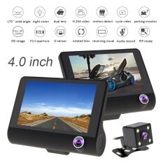 ราคา 4 Inch Ips Screen Full Hd 1080P 3 Ch Car Recorder Dvr Dash Camera G Sensor Cyclic Recording With 170 Degree Night Vision Rear View Camera Intl เป็นต้นฉบับ
