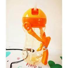 ขาย ซื้อ กระติกน้ำสำหรับเด็ก ขวดน้ำพลาสติก สีส้มใส พร้อมหลอดขนาด 400 Ml