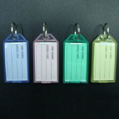 40ชิ้นใหม่ป้ายพลาสติกสีสดใสไอดีแท็กพวงกุญแจกุญแจกระเป๋าเดินทาง ถูก