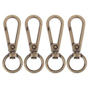 4pcs Vintage Metal Luggage Bag Dog Buckle Snap Hook Bag Clasp DIY Key Chain(Bronze) - intl