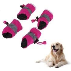 4 ชิ้นฤดูหนาวสัตว์เลี้ยงรองเท้าสุนัข Anti - Slip Rain รองเท้าบูตลุยหิมะสำหรับผู้หญิงรองเท้า (rose) - 7 - Intl By Newlifestyle