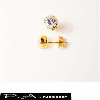 ต่างหูทองฝังเพชรสวิสแท้ ทอง 5 ไมครอน เกรดพีเมียม 0.5 cm