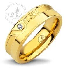 ขาย 555Jewelry แหวนคู่ ดีไซน์เรียบประดับ Cz สลัก Love สีทอง รุ่น Mnr 363T B แหวนเรียบ ดีไซน์แบบ Unisex สแตนเลสสตีลแหวนผู้หญิง แหวนคู่ แหวนคู่รัก เครื่องประดับ แหวนทองผู้หญิง แหวนแฟชั่น ไทย
