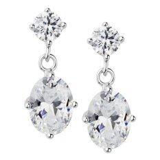 555jewelry ต่างหูแบบห้อยประดับ CZ สีขาวสวยงามหรูหรา (สี - เงิน) รุ่น MNC-ER538-A (BER2) ต่างหู ต่างหูแฟชั่น ต่างหูหนีบ ต่างหูทอง ต่างหูเงิน ต่างหูผู้หญิง