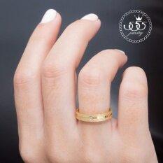 555Jewelry แหวน สแตนเลสสตีล ผิวทรายระยิบรอบวงประดับCz Mnc R661 B ทอง R74 แหวนผู้หญิง แหวนคู่ แหวนคู่รัก เครื่องประดับ แหวนทองผู้หญิง แหวนแฟชั่น ถูก