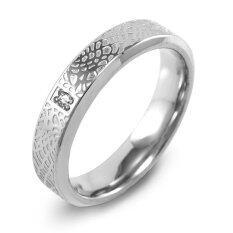555jewelry แหวนกัดลายหนังรอบวง ประดับ Cz สีขาว รุ่น Mnr-071t-A ( สี Steel )แหวนผู้หญิง แหวนคู่ แหวนคู่รัก เครื่องประดับ แหวนผู้ชาย แหวนแฟชั่น.