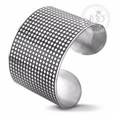 ขาย 555Jewelry กำไลข้อมือสำหรับสุภาพสตรี ลาย Dot Texture รุ่น Mnc Bg114 A Steel กำไลข้อมือ กำไลข้อมือหญิง กำไลข้อมือคู่ กำไลข้อมือทอง ไทย ถูก