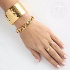 555jewelry สร้อยข้อมือ รุ่น  FSBR11-B (Yellow Gold) สร้อยข้อมือ สร้อยข้อมือผู้หญิง สร้อยข้อมือคู่ สร้อยข้อมือทอง กำไลข้อมือหญิง ข้อมือสแตนเลส