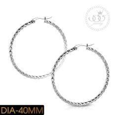 555jewelry ต่างหูแฟชั่น ต่างหูสแตนเลสสตีล ต่างหูห่วง ดีไซน์เรียบๆ เกลียวเหลี่ยม รุ่น MNC-ER842