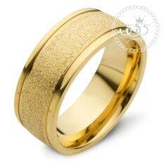 ส่วนลด สินค้า 555Jewelry แหวน สแตนเลสสตีล ดีไซน์สวยผิวทรายระยิบ Mnc R742 B สี ทอง แหวนคู่รัก แหวนคู่ แหวนผู้ชายเท่ๆ แหวนแฟชั่นชาย แหวนผู้ชาย แหวนของผู้ชาย