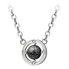 555jewelry สร้อยพร้อมจี้ รุ่น MNN-014T- D (Silver/Black) (P7) สร้อยคอ สร้อยคอแฟชั่น สร้อยคอผู้หญิง สร้อยคอสแตนเลส สร้อยสแตนเลส สร้อยแฟชั่น