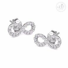ทบทวน 555Jewelry ต่างหูเงินแท้ ดีไซน์ต่างหูเพชรสวิส เครื่องประดับ ต่างหูแฟชั่น Sterling Silver 925 Fashion Jewelry Women Earrings ดีไซน์ ต่างหูแป้น ต่างหูอินฟินิตี้ Infinity Earrings ประดับ เพชรสวิส รุ่น Md Sler004 Sler B1 555Jewelry