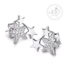ซื้อ 555Jewelry ต่างหูเงินแท้ ดีไซน์ต่างหูเพชรสวิส เครื่องประดับ ต่างหูแฟชั่น Sterling Silver 925 Fashion Jewelry Women Earrings ดีไซน์ ต่างหูแป้น รูปดาวเป็นประกายประดับ เพชรสวิส รุ่น Md Sler007 Sler B1 ออนไลน์ ถูก