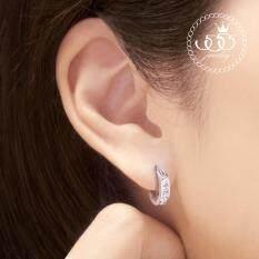 555Jewelry ต่างหูเงินแท้ ดีไซน์ต่างหูเพชรสวิส เครื่องประดับ ต่างหูแฟชั่น Sterling Silver 925 Fashion Jewelry Women Earrings ดีไซน์ ต่างหูห่วง ดีไซน์คลาสสิคสวยเป็นประกาย เพชรสวิส รุ่น Md Sler031 Sler B1 ใน ไทย