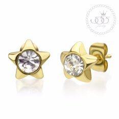 555jewelry Stainless Steel 316L Earrings ต่างหูก้านเสียบประดับด้วย CZ รุ่น MNC-ER448-B (Yellow Gold) ต่างหู ต่างหูแฟชั่น ต่างหูหนีบ ต่างหูทอง ต่างหูเงิน ต่างหูผู้หญิง