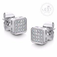 555jewelry ต่างหูสตั๊ดสี่เหลี่ยม สไตล์เรียบหรูคลาสสิคประดับเพชร CZ รุ่น MNC-BER134-A (BER14) ต่างหู ต่างหูแฟชั่น ต่างหูหนีบ ต่างหูทอง ต่างหูเงิน ต่างหูผู้หญิง