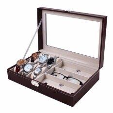 ราคา กล่องใส่นาฬิกาและกล่องแว่นตา ใส่นาฬิกา 6 เรือน แว่นตา 3 ช่อง หุ้มหนังPuอย่างดี